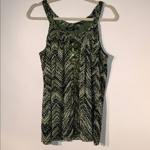 APT. 9 Sleeveless Blouse with Olive Green Design